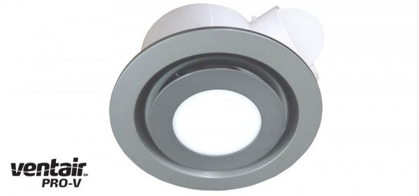 AIRBUS 250 - Premium Quality Side Ducted Round Silver Exhaust Fan With 14w LED Panel - Extra Low Profile - Lights Fans Action