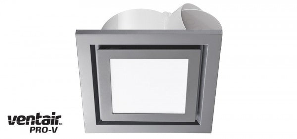 AIRBUS 250 - Premium Quality Side Ducted Square Silver Exhaust Fan With 14w LED Panel - Extra Low Profile - Lights Fans Action