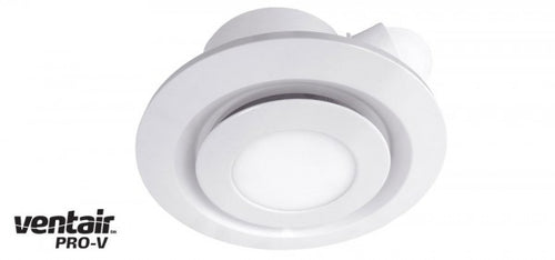 AIRBUS 250 - Premium Quality Side Ducted Round White Exhaust Fan With 14w LED Panel - Extra Low Profile