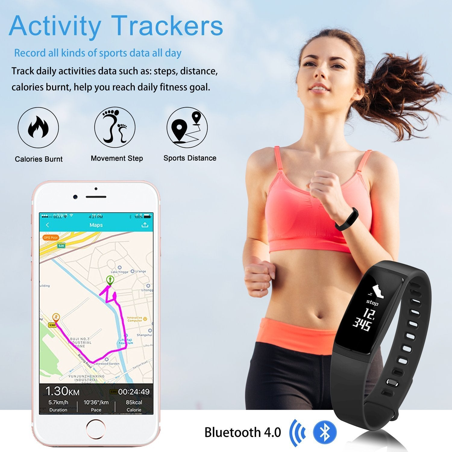 Smart Bracelet Heart Rate Bluetooth 4 0 Sports Pedometer Calorie IP67  Waterproof Sleep Monitor Call/SMS Reminder Sedentary Reminder for Android  IOS