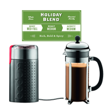 Load image into Gallery viewer, Holiday Bundle - Bodum 8 Cup Press, Grinder & Holiday Blend