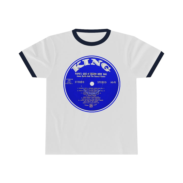 James Brown Papa's Got A Brand New Bag King Record Label Vinyl Unisex Ringer T Shirt Tee