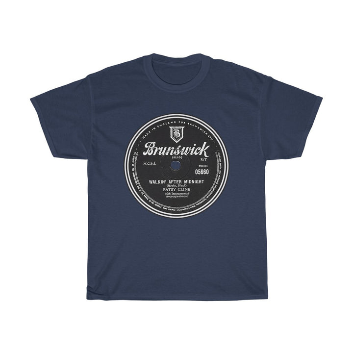Patsy Cline Walkin' After Midnight Brunswick Record Label 78 RPM Country Vinyl Men's T Shirt Tee