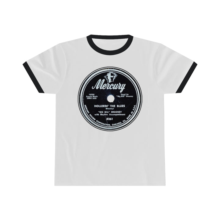 Big Bill Broonzy Mercury Record Label Vinyl 78 RPM Blues Unisex Ringer T Shirt Tee