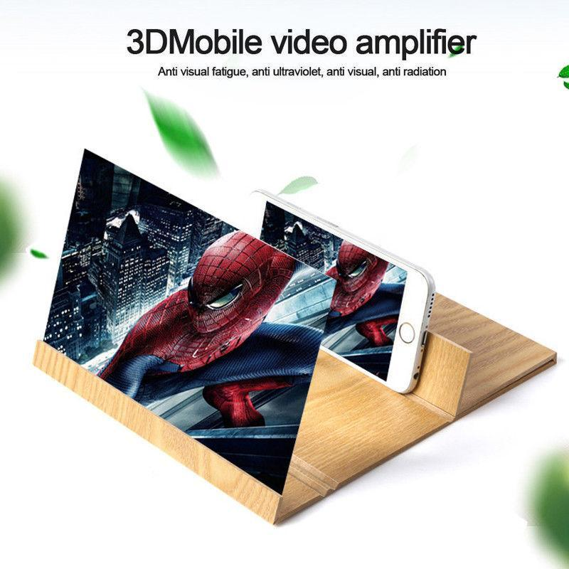 12inch Screen Magnifier High Definition Wooden Mobile Video Amplifier With Stand Anti-radiation