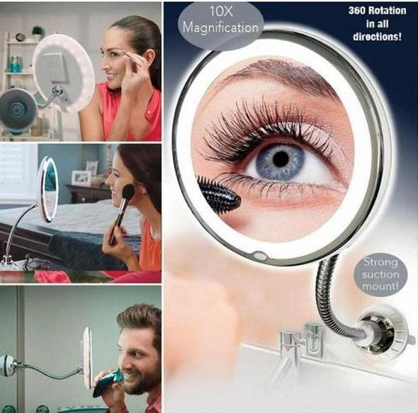 360° Flexible Light Up 10X Magnification Makeup Mirror