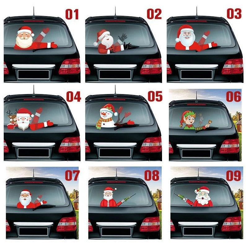Waving Santa Claus Decoration Car Rear Window Windscreen Wiper Sticker Christmas