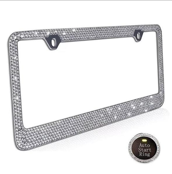 Rhinestone Stainless Steel License Plate Frame