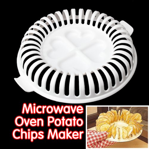 3-in-1 36 Slots Fat Free Microwave Potato Chips Maker Plate and Slicer