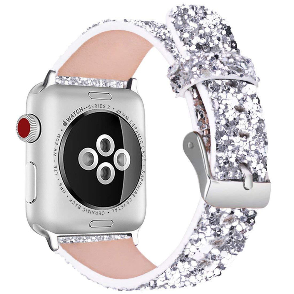DAHASE Bling Christmas Shiny Glitter PU Leather Band for Apple Watch Series 3 2 1