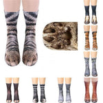 3D Printed Animal Paw Crew Socks Warm Unisex Cosplay Novelty Cotton Socks