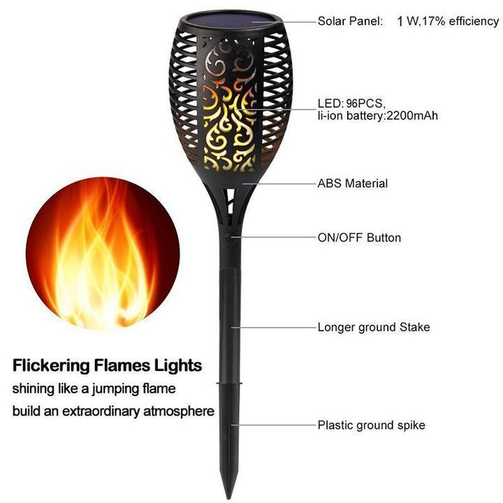 LED Solar Path Torch Light Dancing Flame Night