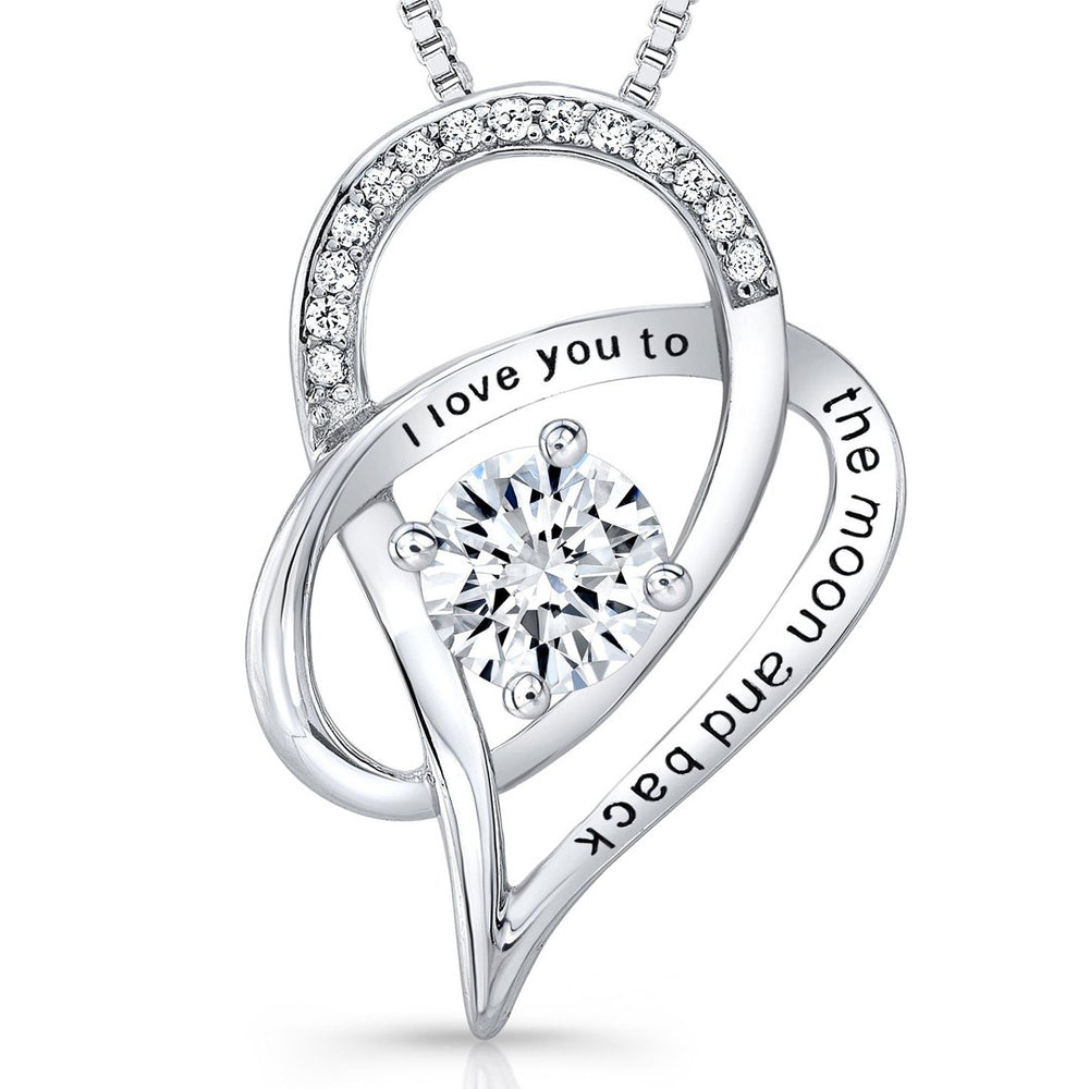 I Love You To The Moon and Back Necklace in Silver