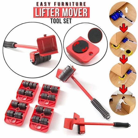 440lbs Easy Mover Kit Heavy Furniture Lifter Shift w/4 Sliders Pad Lift Moving