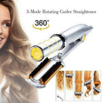Professional 2-Way Rotating Curling Iron Hair Brush Curler Straightener