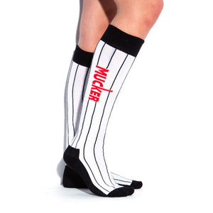 MUCKER KNEE HIGH SOCKS White Pinstripe