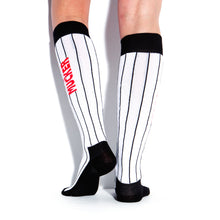 Load image into Gallery viewer, MUCKER KNEE HIGH SOCKS White Pinstripe