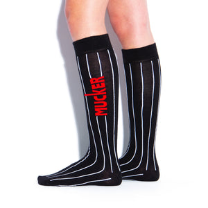 MUCKER KNEE HIGH SOCKS Black Pinstripe