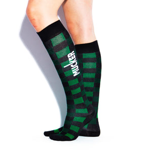 MUCKER KNEE HIGH SOCKS Green Checkered