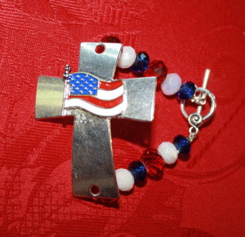American Flag Cross Bracelet