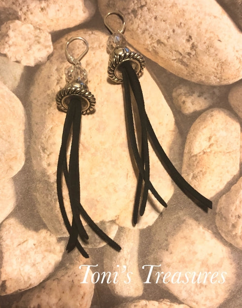 Black suede crystal pewter tassel earrings