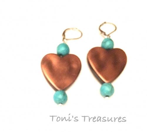 Bronze and Turquoise Earrings