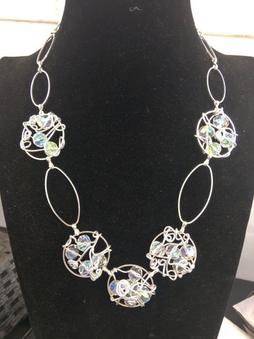 Crystal Wire Wrapped linked Necklace