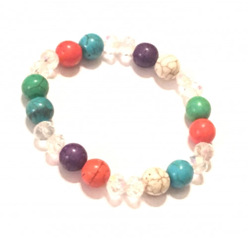 Crystal with multi color gemstone bracelet