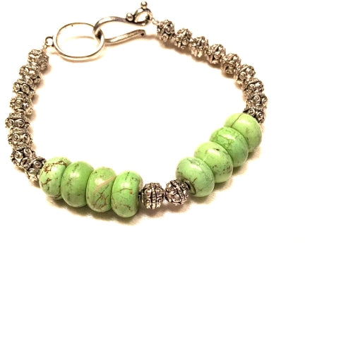 Green Turquoise and German Silver Bracelet
