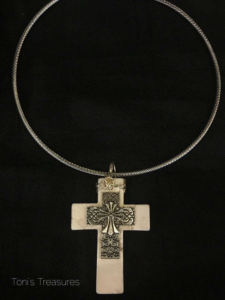 Handcrafted White Turquoise Cross Pendant with choker