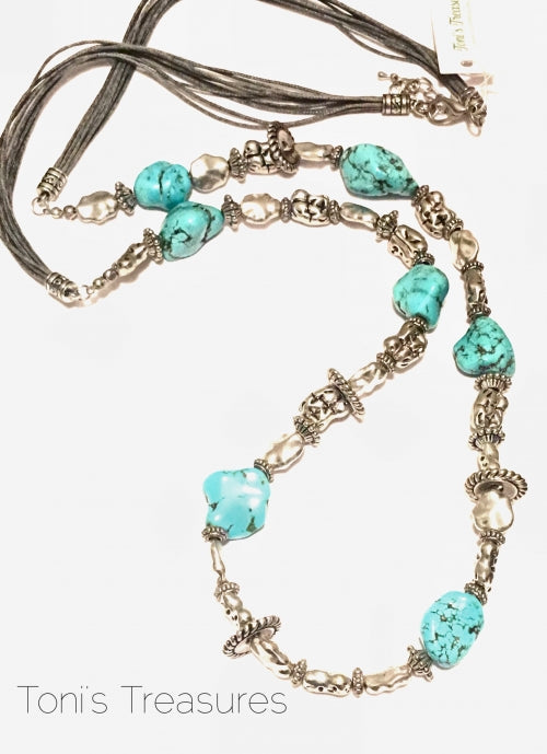 Long Turquoise Nugget and pewter necklace