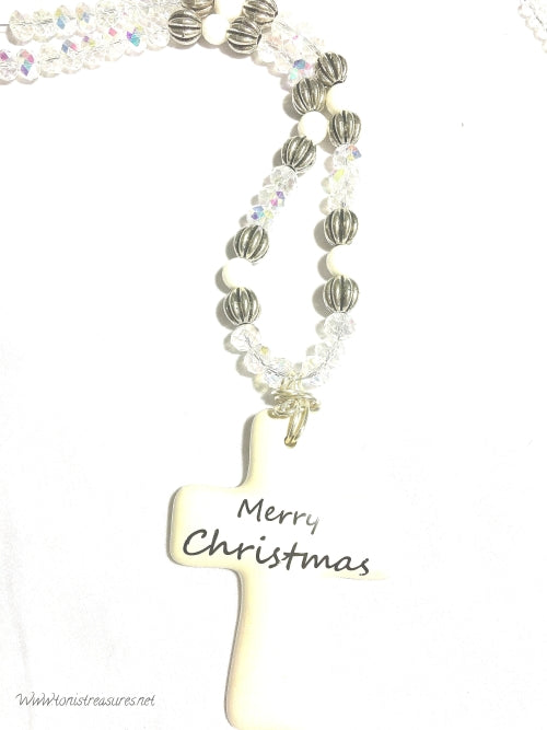 Merry Christmas Cross Necklace