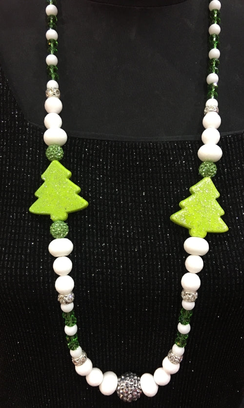 Neon Christmas Tree Necklace