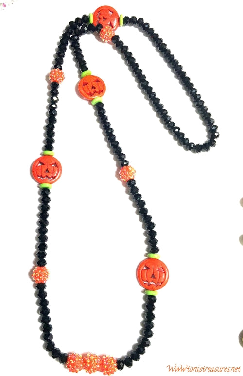 Orange Jack-o'-lantern necklace