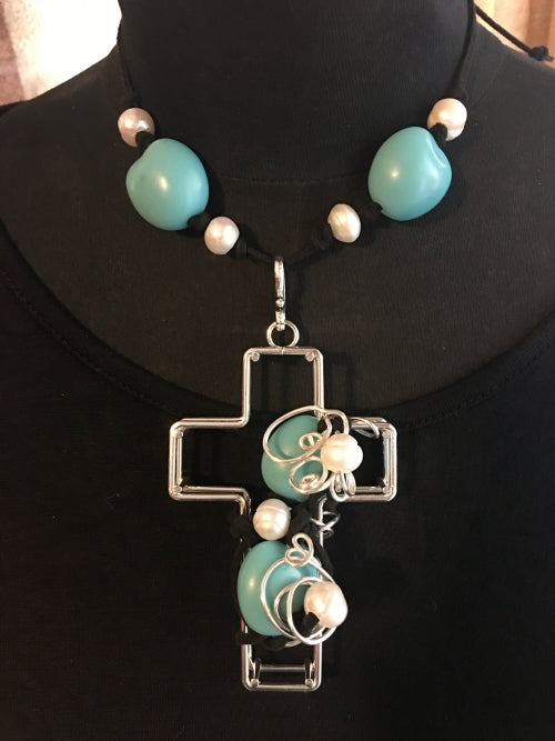 Turquoise Pearl Wire Wrapped Cross Necklace