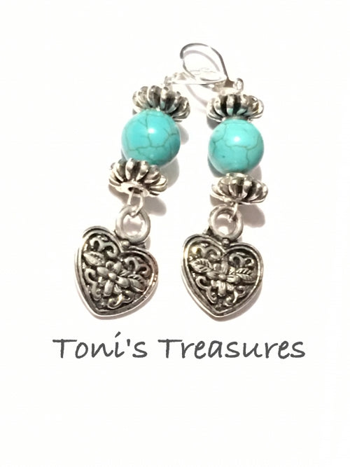 Turquoise and Silver heart earrings