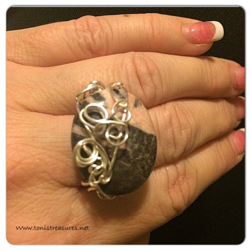 Wire Wrapped Agate Ring