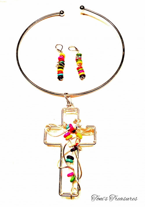 Wire wrapped Serape cross pendant