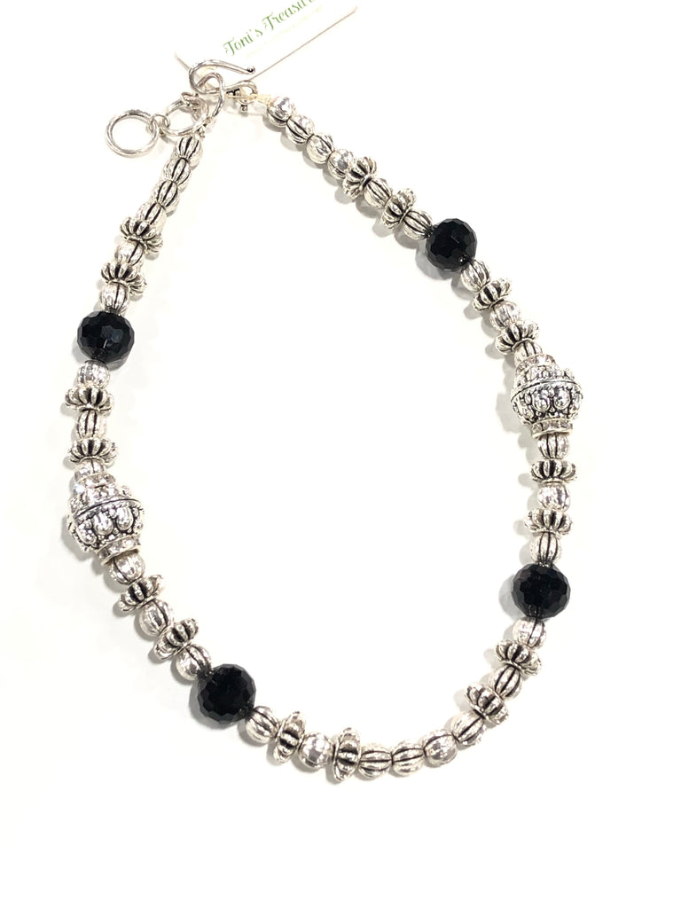 Pewter Necklace with Onyx Accents