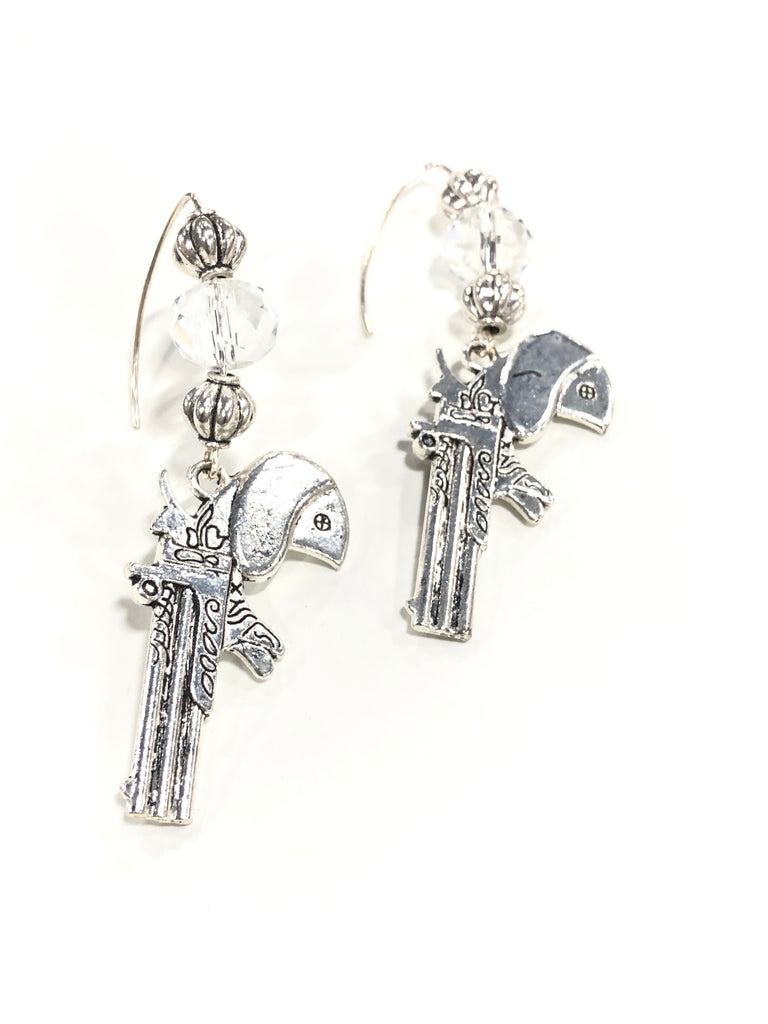 Pewter Gun Earrings Crystal Accents