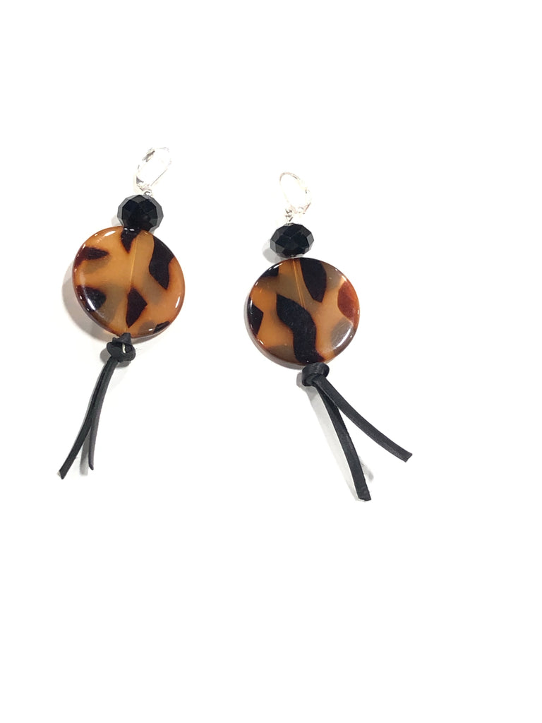 Leopard Leather Tassel Earrings