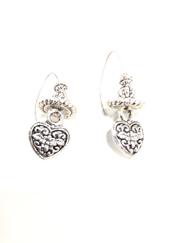 Pewter Heart Earrings with Crystal