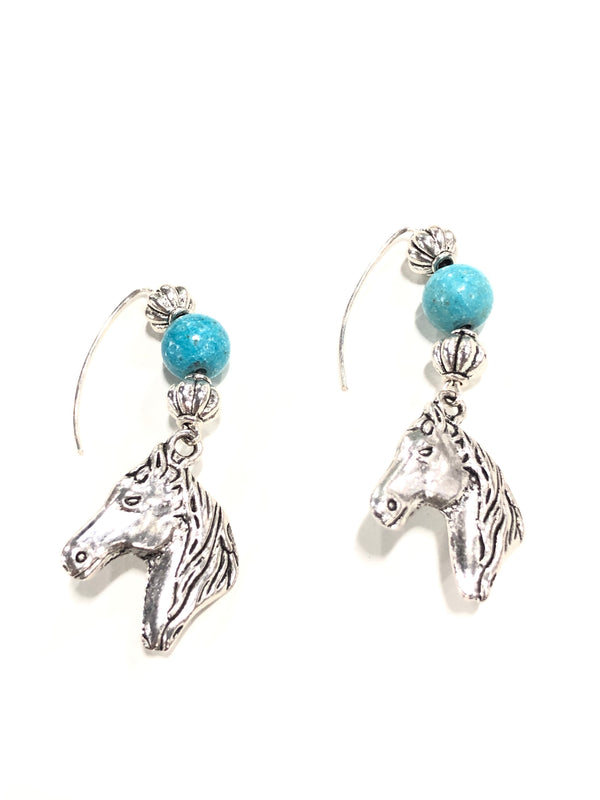Pewter Horse Earrings  Turquoise