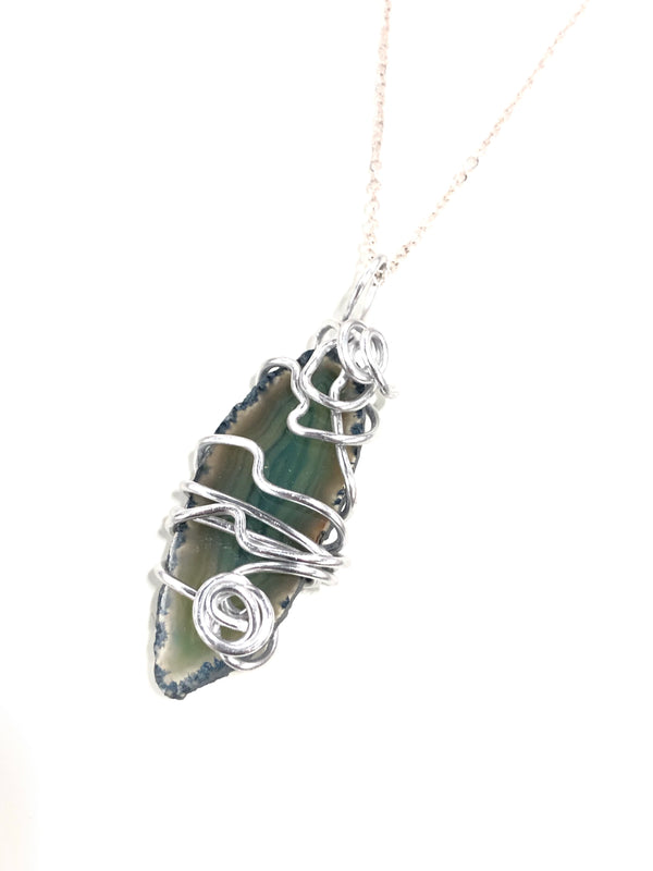 Wire Wrapped Agate Gemstone  Necklace