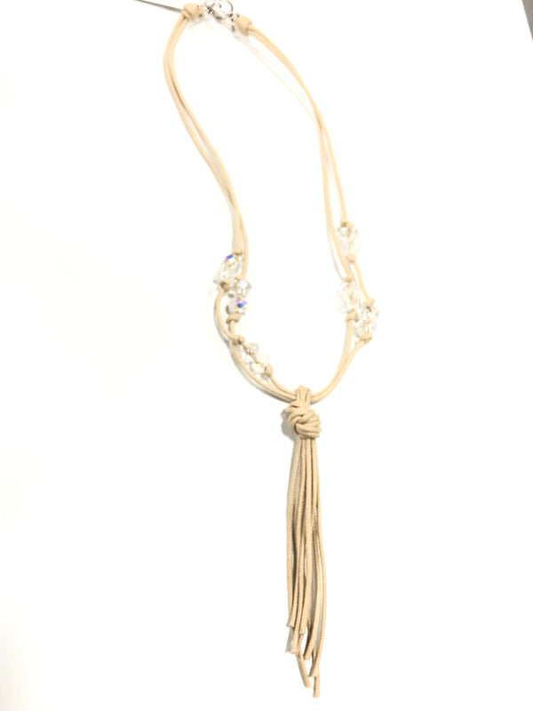 Beige Tassel necklace with crystal accents