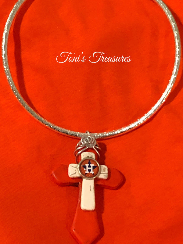 Astros cross pendant with choker