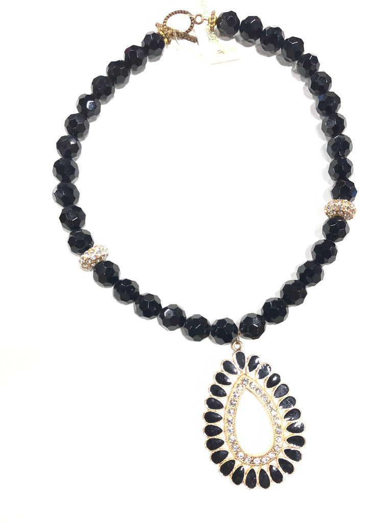 Black Onyx  necklace with rhinestone accent