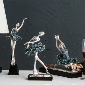 Europe Resin Blue Ballet Girl Dancer Home  Crafts