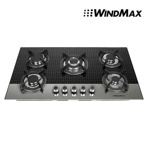 Euro Style 35.5 in. Coated Glass 5 Burners Built-In Stove NG Gas Cooktop Cooker