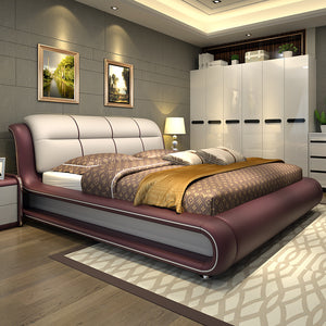 Modern bedroom furniture bed with  genuine leather